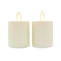 "Matchless - Pair of Moving Flame LED Votive Candles - Indoor - ABS - Ivory - Unscented - Remote Ready - 2"" x 2.2"""