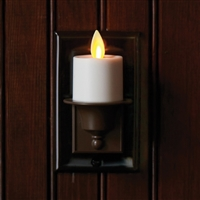 Matchless by Liown Moving Flame - Automatic Flameless LED Tealight Plug-In Night Light - Indoor - Ivory & Brown ABS