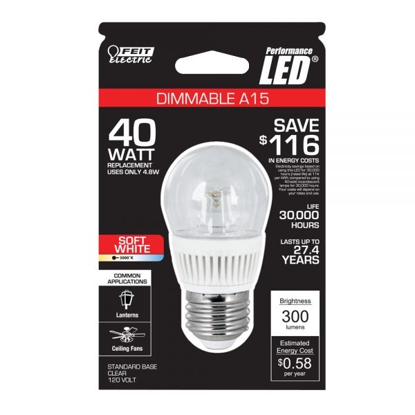 Feit Electric Led Bulb A15 Clear 40w Equivalent 3000k Warm White 300 Lumens Dimmable