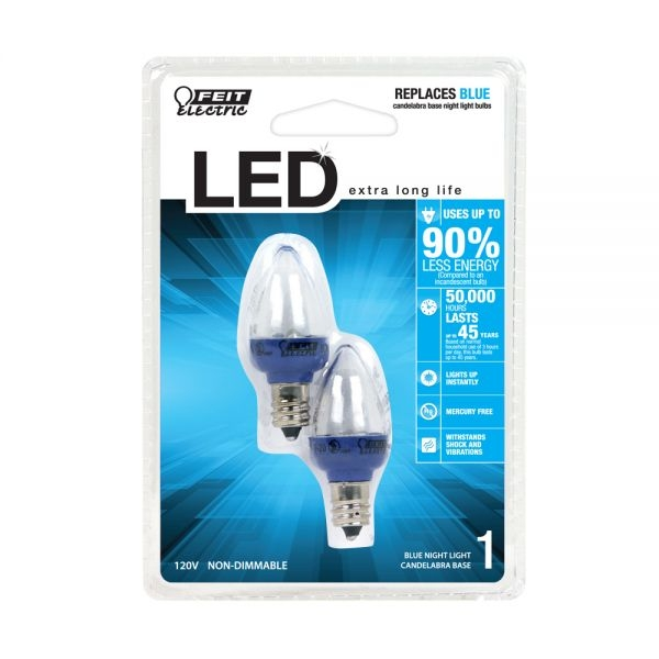 Feit Electric - LED Bulb - C7 Clear (Lights Up Blue) - Night Light - 2-Pack  - Blue - Non-Dimmable