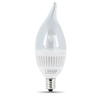 Feit Electric - LED Bulb - Clear Candelabra Flame Tip - E12 Base - 40W Equivalent - 3000K Warm White - 310 Lumens - Dimmable