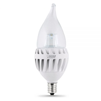 Feit Electric - LED Bulb - Clear Candelabra Flame Tip - E12 Base - 60W Equivalent - 3000K Warm White - 500 Lumens - Dimmable