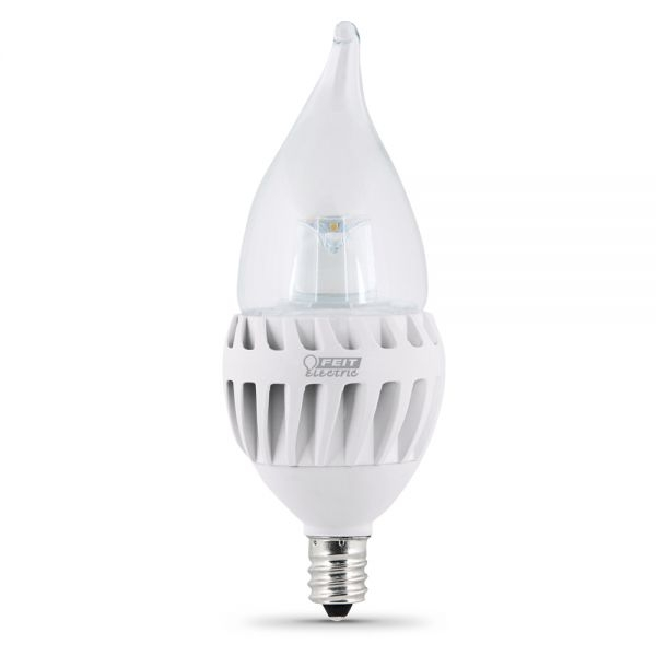 feit electric led bulb clear candelabra flame tip e12 base 60w equivalent 3000k warm white 500 lumens dimmable