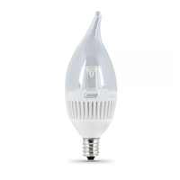 Feit Electric - LED Bulb - Clear Candelabra Flame Tip - E12 Base - 25W Equivalent - 3000K Warm White - 200 Lumens - Dimmable