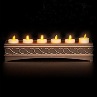 Luminara - 6 x Rechargeable Flameless LED Tealights - Ivory ABS - Bronze Charging Base - Remote Capable