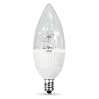 Feit Electric - LED Bulb - Clear Candelabra Torpedo Tip - E12 Base - 40W Equivalent - 3000K Warm White - 310 Lumens - Dimmable