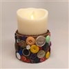 Flameless Candle Cuff - Burlap & Buttons - For 3.5-Inch x 5-Inch Flameless Candles