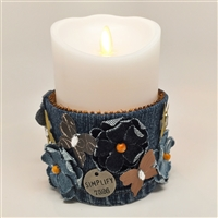 Flameless Candle Cuff - Blue Denim Fabric - Butterflies and Flowers - For 3.5-Inch x 5-Inch Flameless Candles