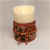 Flameless Candle Cuff - Fabric & Burlap - Autumn Colors - For 3.5-Inch x 5-Inch Flameless Candles