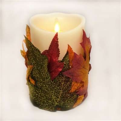 Flameless Candle Cuff - Fabric - Fall Leaves - For 3.5-Inch x 5-Inch Flameless Candles