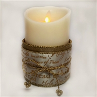 Flameless Candle Cuff - Gold Mesh Ribbon - Biblical Names of Jesus - For 3.5-Inch x 5-Inch Flameless Candles