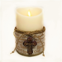 Flameless Candle Cuff - Gold Mesh Ribbon - Biblical Names of Jesus w/ Cross - For 3.5-Inch x 5-Inch Flameless Candles