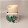 Flameless Candle Cuff - White Sweater Fabric - Bluebird & Gemstones - For 3.5-Inch x 5-Inch Flameless Candles