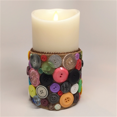 Flameless Candle Cuff - Burlap & Buttons - For 3.5-Inch x 7-Inch Flameless Candles