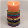 Flameless Candle Cuff - Crocheted Fabric Material - Boho Striped Pattern - For 3.5-Inch x 7-Inch Flameless Candles