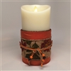 Flameless Candle Cuff - Fabric & Burlap - Autumn Colors - For 3.5-Inch x 7-Inch Flameless Candles