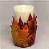 Flameless Candle Cuff - Fabric - Fall Leaves - For 3.5-Inch x 7-Inch Flameless Candles