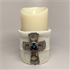Flameless Candle Cuff - White Sweater Fabric - Cross - For 3.5-Inch x 7-Inch Flameless Candles