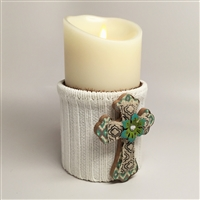 Flameless Candle Cuff - White Sweater Fabric - Cross w/ Flower - For 3.5-Inch x 7-Inch Flameless Candles