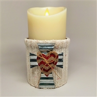 Flameless Candle Cuff - White Sweater Fabric - Cross With Heart - For 3.5-Inch x 7-Inch Flameless Candles