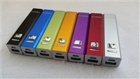 USB Power Bank - 2600mAh Rechargeable Li-Ion Battery - Rectangular Aluminum Housing w/ 4 x LED Charge Indicators