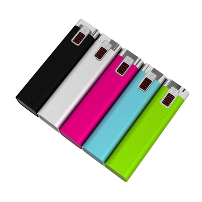 USB Power Bank - 2600mAh Rechargeable Li-Ion Battery - Rectangular Aluminum Housing w/ Numeric LED Display