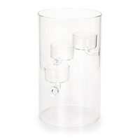 "Tealight or Votive Candle Holder Display Stand - Cylindrical Clear Glass w/ 3 x Clear Glass Cups - 4.75"" x 7.9"""