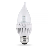 Feit Electric - LED Bulb - Clear Candelabra Flame Tip - E26 (Medium) Base - 60W Equivalent - 3000K Warm White - 500 Lumens - Dimmable