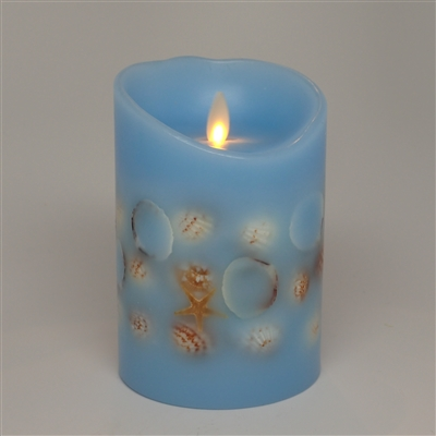 "Dancing Moving Flame - Flameless LED Candle - Embedded Seashells - Indoor - Wax - Sky Blue - Free Remote - 3.5"" x 5"""