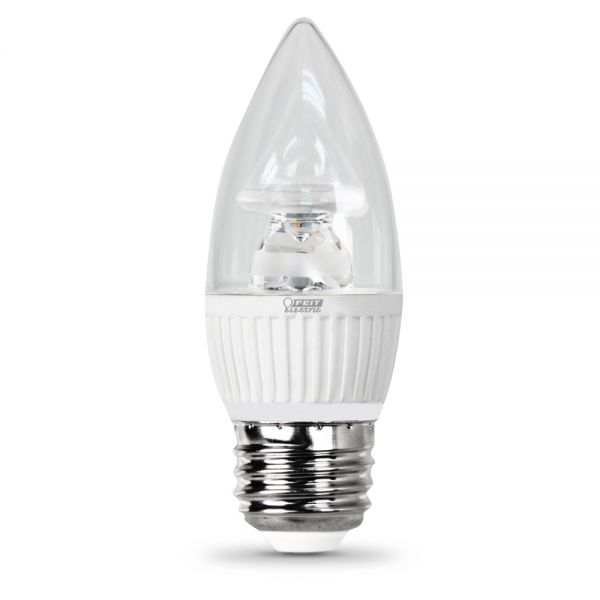 feit electric led bulb clear candelabra torpedo tip e26 medium base 40w equivalent 3000k warm white 310 lumens dimmable
