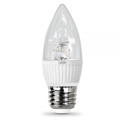 Feit Electric - LED Bulb - Clear Candelabra Torpedo Tip - E26 (Medium) Base - 40W Equivalent - 3000K Warm White - 310 Lumens - Dimmable