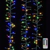RAZ Imports - 10' LED Cluster Light Garland + Remote - 300 Multi-Colored LEDs on Green Wire