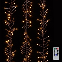 RAZ Imports - 10' LED Cluster Light Garland + Remote - 300 Warm White LEDs on BrownWire