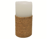 "Gift Essentials - Wax LED Candle Fountain - Jute Wrapped White Wax - 3.5"" x 7.25"" - Remote Control"