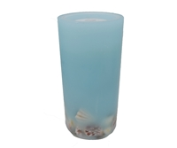 "Gift Essentials - Wax LED Candle Fountain - Light Blue Wax With Embedded Seashells- 4"" x 8"" - Remote Control"