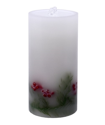 "Gift Essentials - Wax LED Candle Fountain - White Wax With Embedded Holly Berries - 4"" x 8"" - Remote Control"
