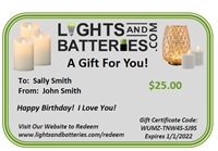 Gift Certificate - $15, $25, $50, $75, $100, $500, or Custom Amount - E-mailed or Printed & Mailed