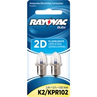 Rayovac - Krypton Bulb - 2D Flashlights - 2.4V - Flanged Base - 2-Pack