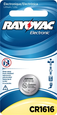 Rayovac -  CR1616 - 3.0V - Lithium Button Battery - 1-Pack