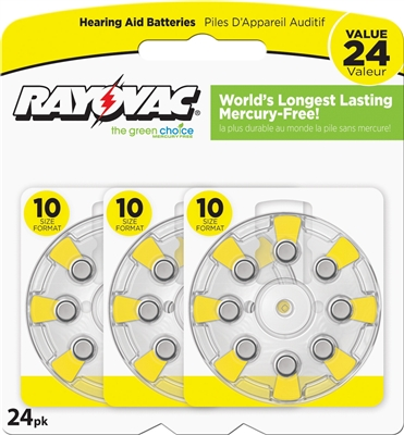 Rayovac -  Size 10 - 1.45V - Zinc-Air Hearing Aid Battery - 24-Pack