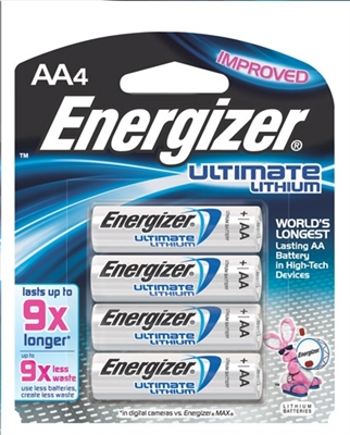 Energizer - AA - 1.5V - Ultimate Lithium Battery - 4-Pack
