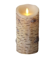 "Luminara - Flameless LED Candle - Indoor - Wax - Birch Bark - 3.5"" x 7"" - Remote Ready"