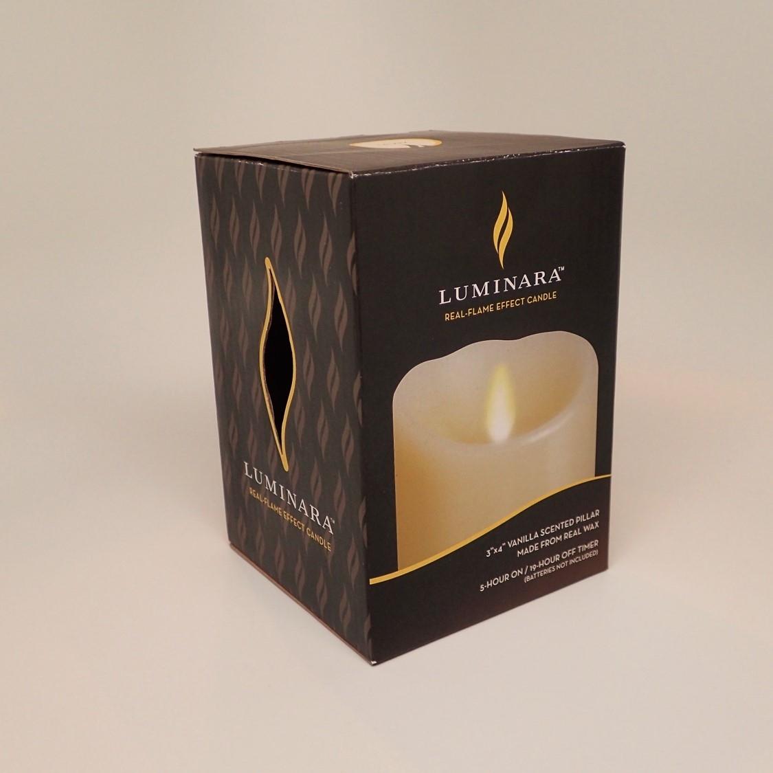 "Luminara 5"" Flameless Candle Pillar Glitter LED Light Real Flame Effect Remote"