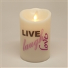 """Live, Laugh, Love"" - Luminara Real-Flame Effect - Flameless LED Candle - Indoor - Ivory Wax - Remote Ready - 3"" x 4"""