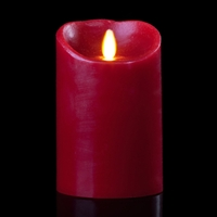 "Luminara - Flameless LED Candle - Indoor - Wax - Burgundy - Remote Ready - 3.5"" x 5"""