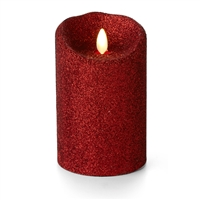 "Luminara - Flameless LED Candle - Indoor - Wax - Red Glitter - 3.5"" x 5"" - Remote Ready"