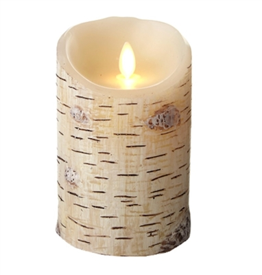 "Luminara - Flameless LED Candle - Indoor - Wax - Birch Bark - 3.5"" x 5"" - Remote Ready"