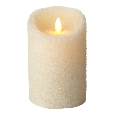 "Luminara - Flameless LED Candle - Indoor - Ivory Wax - Textured Sugar Finish - 3.5"" x 5"" - Remote Ready"