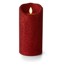 "Luminara - Flameless LED Candle - Indoor - Wax - Red Glitter - 3.5"" x 7"" - Remote Ready"
