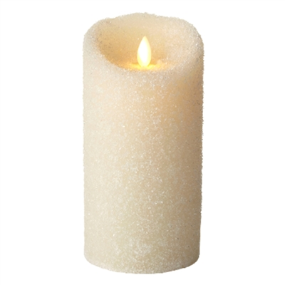 "Luminara - Flameless LED Candle - Indoor - Ivory Wax - Textured Sugar Finish - 3.5"" x 7"" - Remote Ready"
